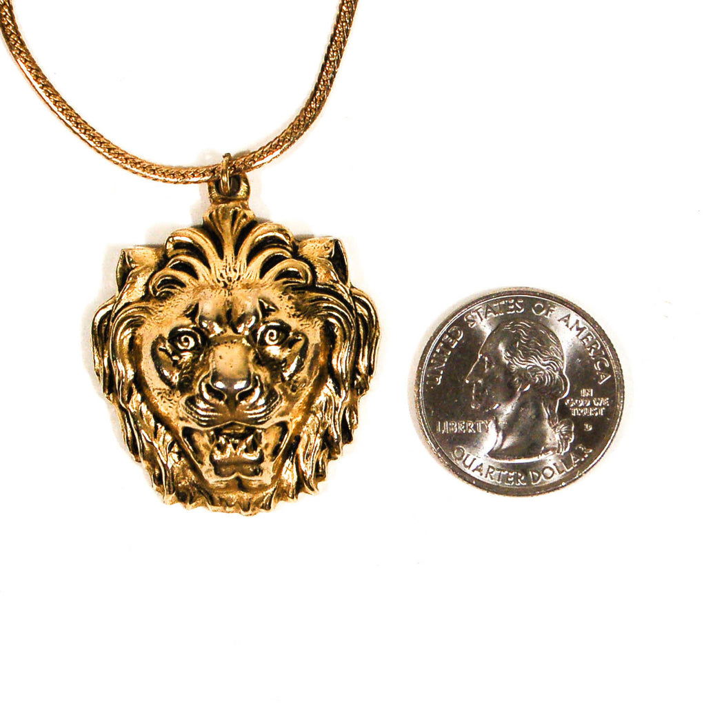 Gold Lion Statement Necklace by Accessocraft NYC - Vintage Meet Modern  - 3
