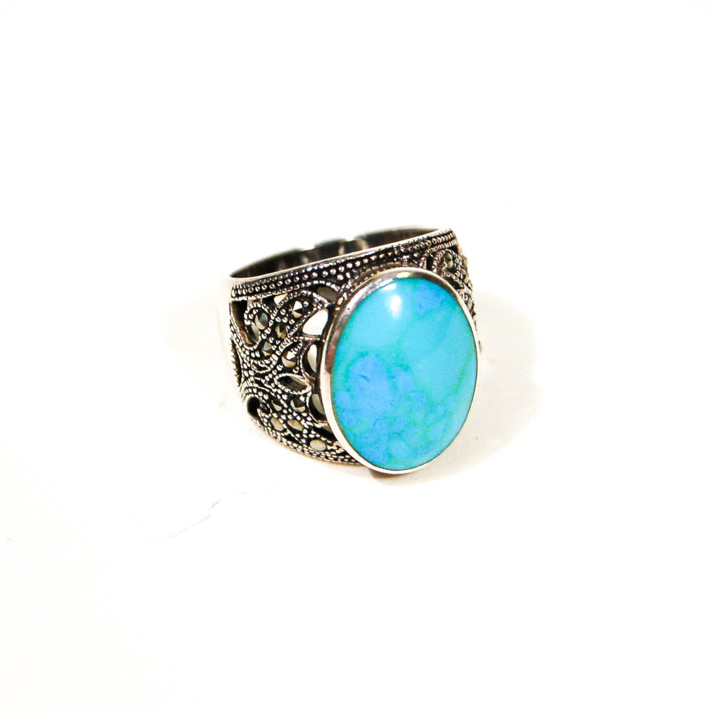 Turquoise and Marcasite Statement Ring, Sterling Silver, Filigree Brand, Designer Jewelry, Size 8 - Vintage Meet Modern  - 1