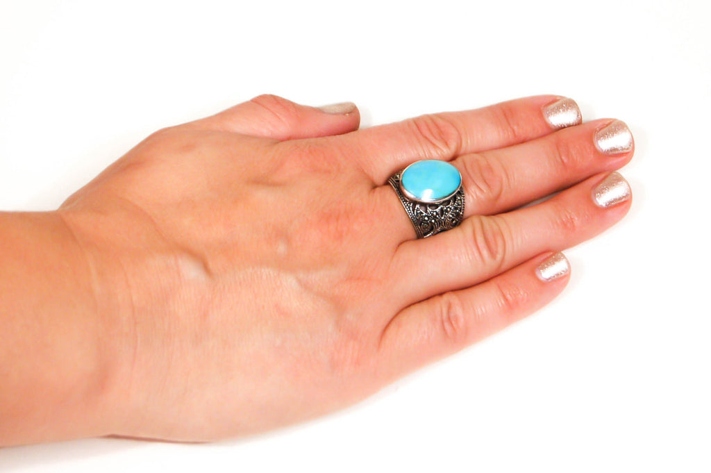 Turquoise and Marcasite Statement Ring, Sterling Silver, Filigree Brand, Designer Jewelry, Size 8 - Vintage Meet Modern  - 3