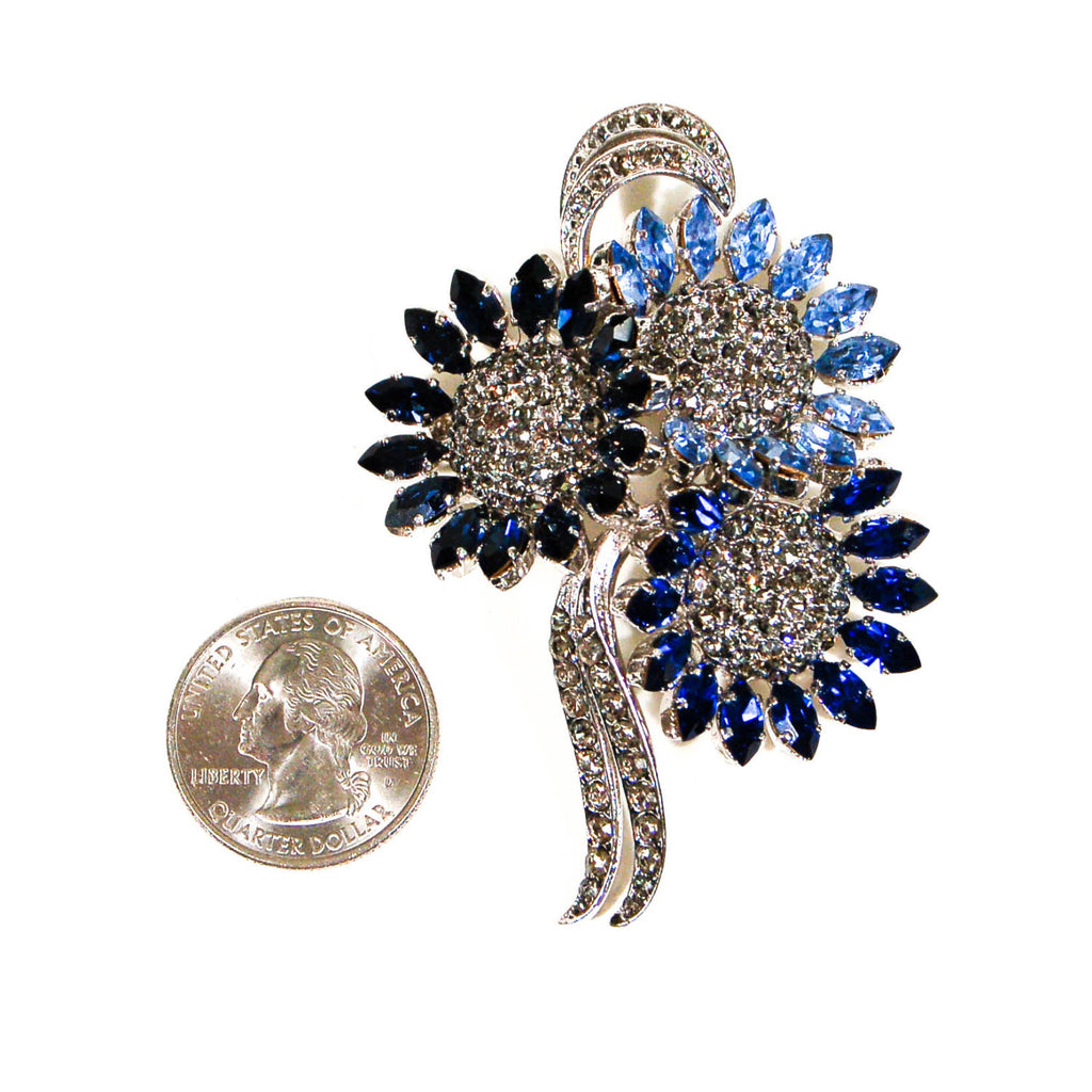 1950's Sapphire Blue Rhinestone Brooch from Austria, Brooches - Vintage Meet Modern