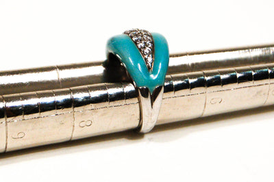 Sterling Silver Turquoise Enamel Ring by Adrienne by Adrienne - Vintage Meet Modern Vintage Jewelry - Chicago, Illinois - #oldhollywoodglamour #vintagemeetmodern #designervintage #jewelrybox #antiquejewelry #vintagejewelry
