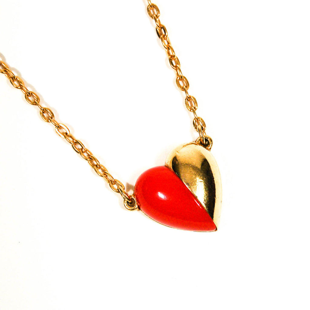 Red and Gold Heart Necklace by Crown Trifari - Vintage Meet Modern  - 1