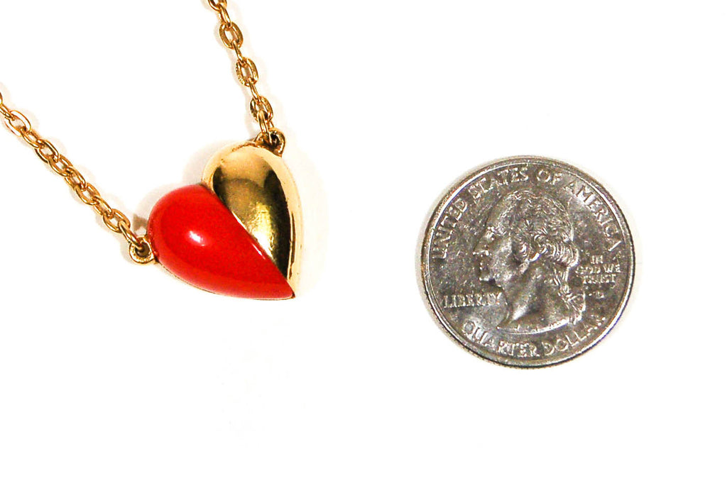 Red and Gold Heart Necklace by Crown Trifari - Vintage Meet Modern  - 3