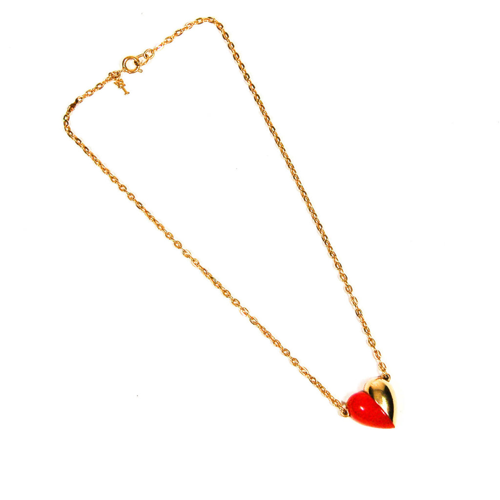 Red and Gold Heart Necklace by Crown Trifari - Vintage Meet Modern  - 2