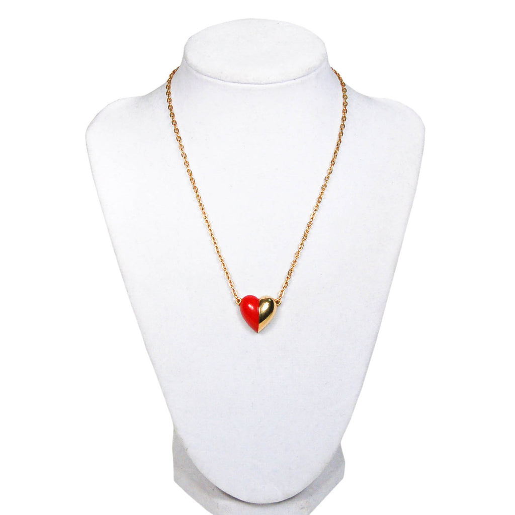 Red and Gold Heart Necklace by Crown Trifari, Necklaces - Vintage Meet Modern