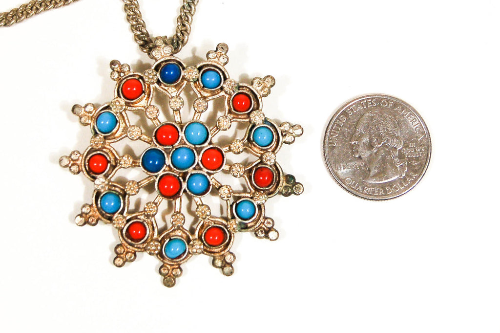 1970's Turquoise and Coral Sunburst Statement Necklace, Necklaces - Vintage Meet Modern