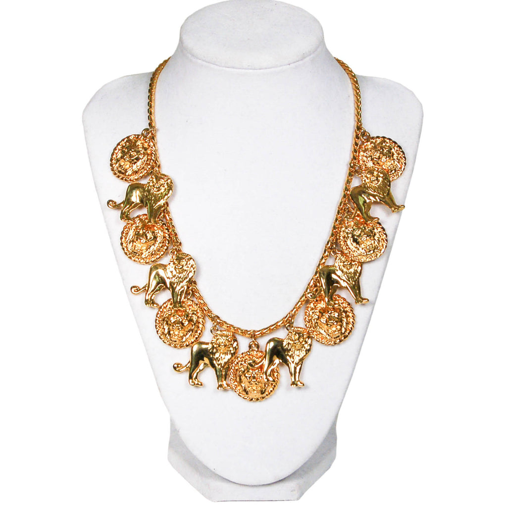 1980's Gold Tone Lion Charm Statement Necklace, Necklaces - Vintage Meet Modern