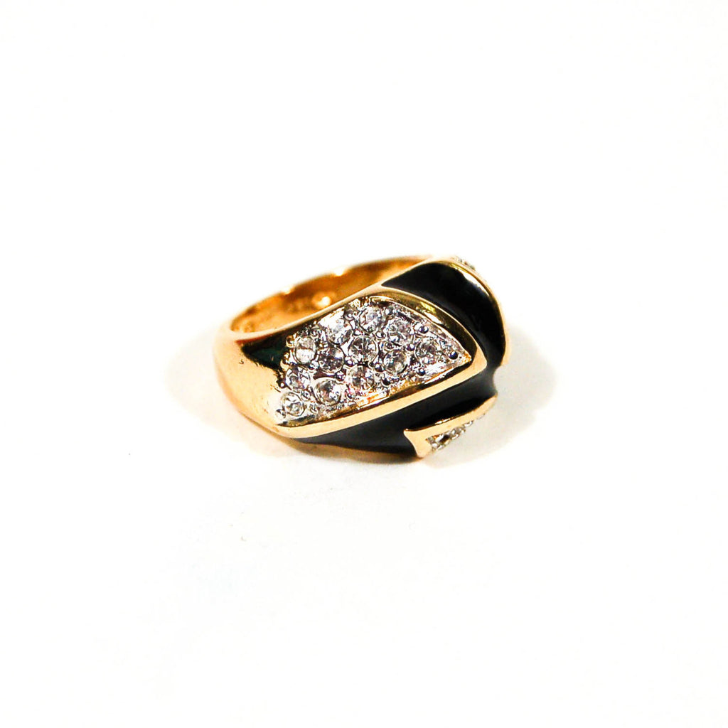 1980's Gold, Black Enamel and Pave CZ Chevron Dome Ring, rings - Vintage Meet Modern