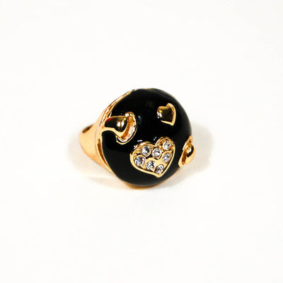 1980's Black and Gold Statement Ring with Rhinestone Hearts by 1980s - Vintage Meet Modern - Chicago, Illinois