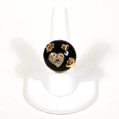1980's Black and Gold Statement Ring with Rhinestone Hearts, rings - Vintage Meet Modern