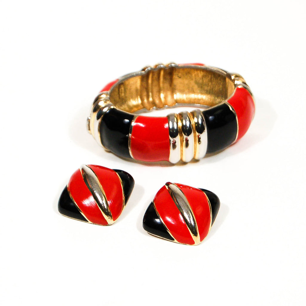 Red, Black, and Gold Bracelet and Earrings Set by Ciner, Jewelry Sets - Vintage Meet Modern