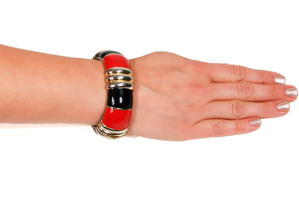 Red, Black, and Gold Bracelet and Earrings Set by Ciner - Vintage Meet Modern  - 3