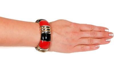 Red, Black, and Gold Bracelet and Earrings Set by Ciner by Ciner - Vintage Meet Modern - Chicago, Illinois