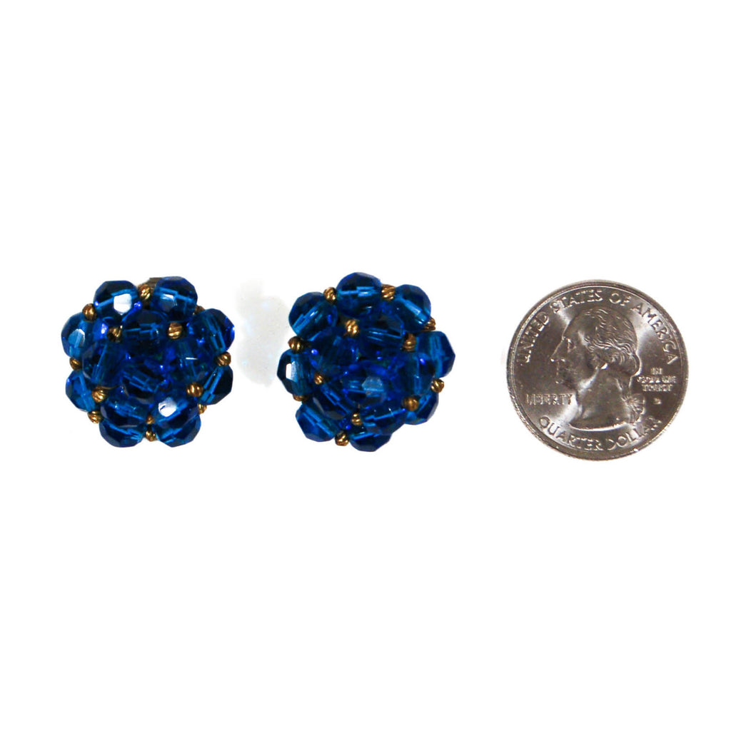 Round Blue Crystal Earrings by Jonne - Vintage Meet Modern  - 3