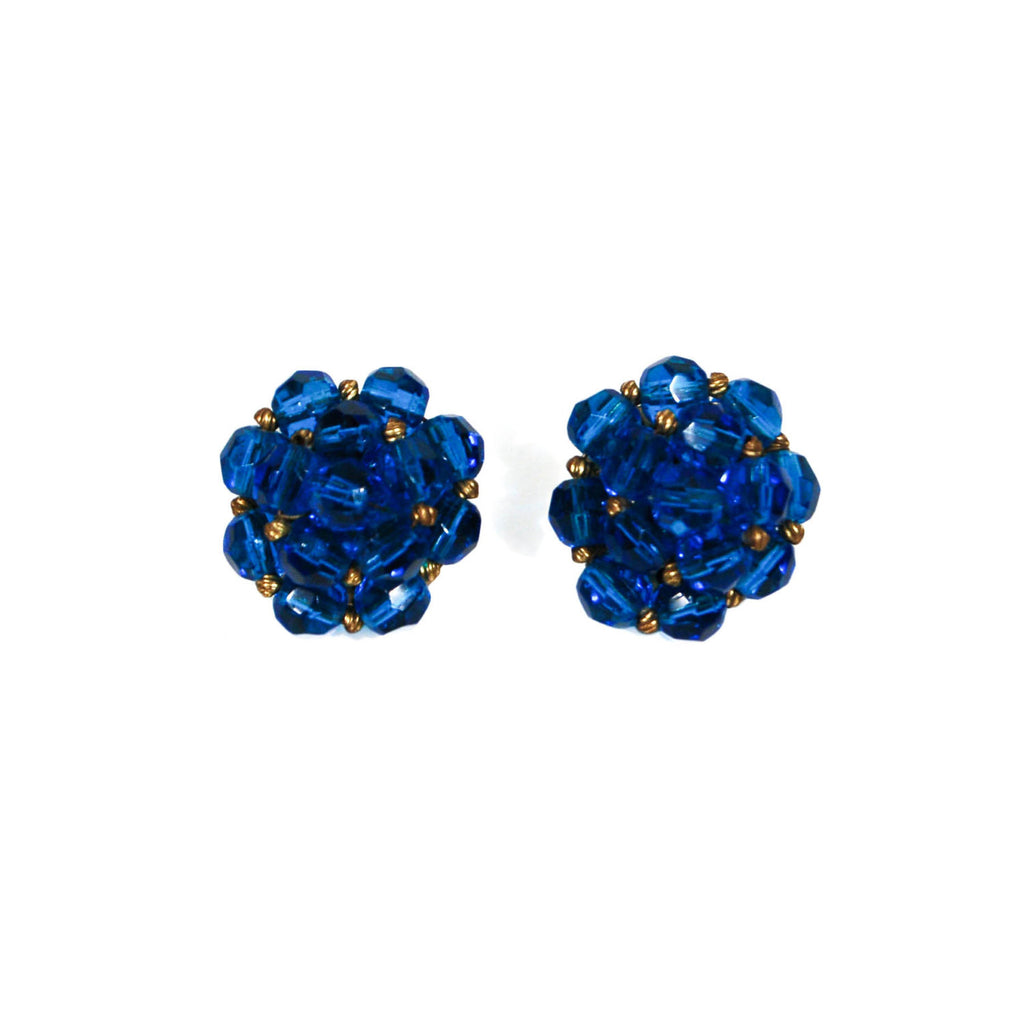 Round Blue Crystal Earrings by Jonne - Vintage Meet Modern  - 1