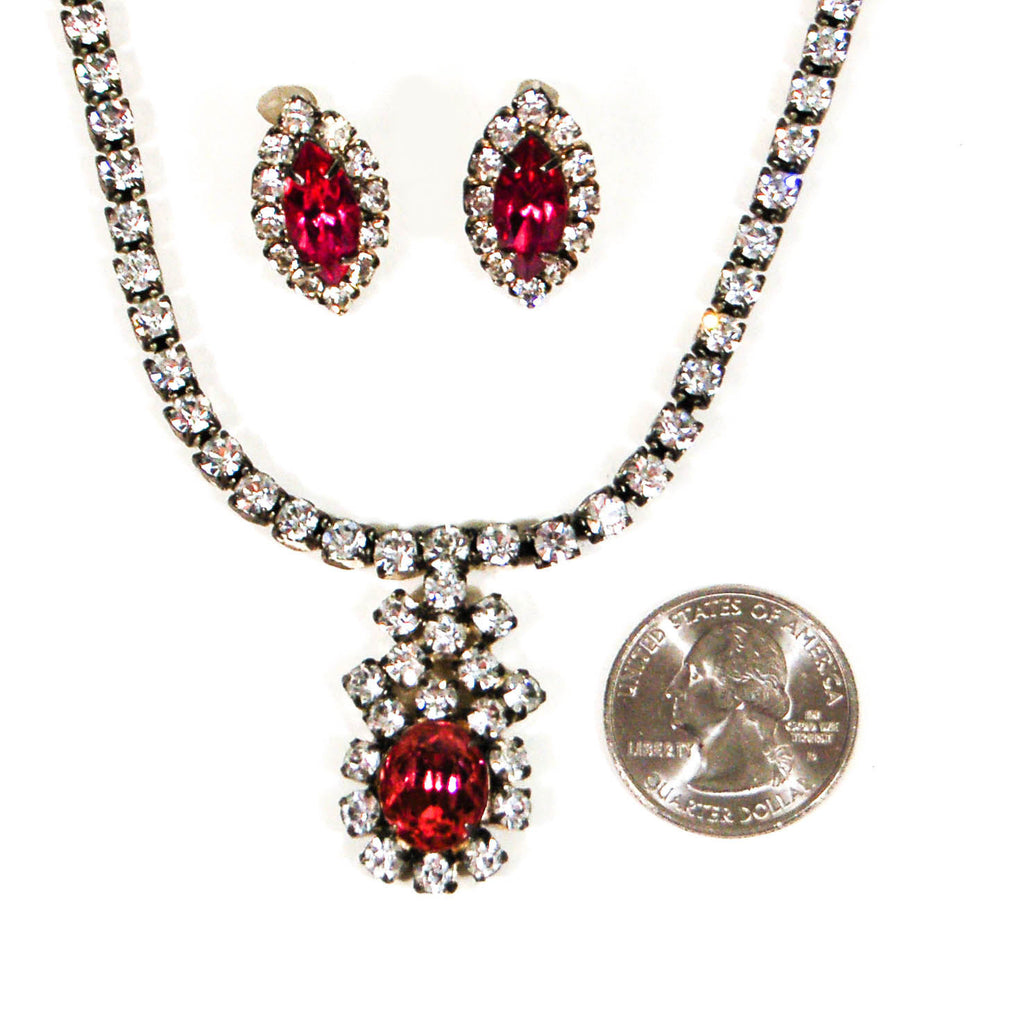 1940's Pink Rhinestone Necklace and Earrings Set, Jewelry Sets - Vintage Meet Modern