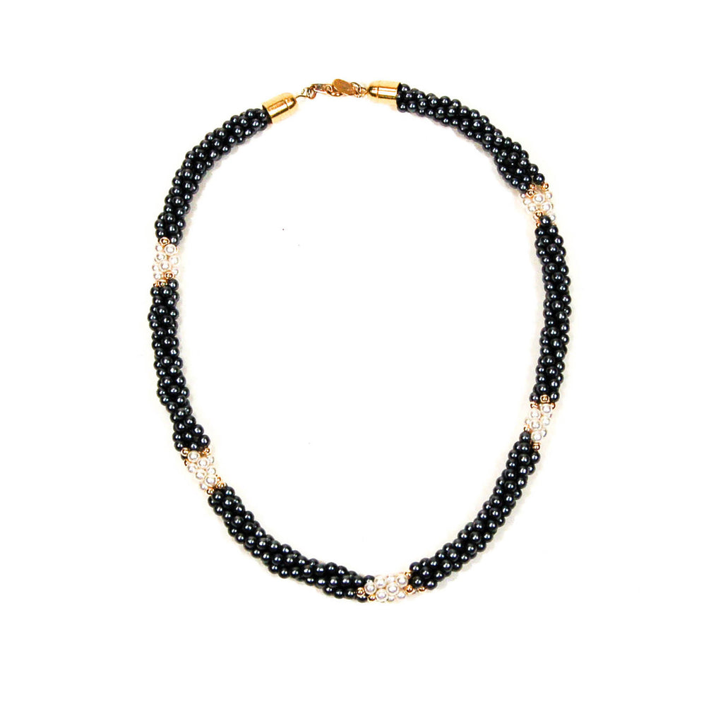 Black and White Pearl Necklace with Gold Accents by Park Lane, Necklaces - Vintage Meet Modern