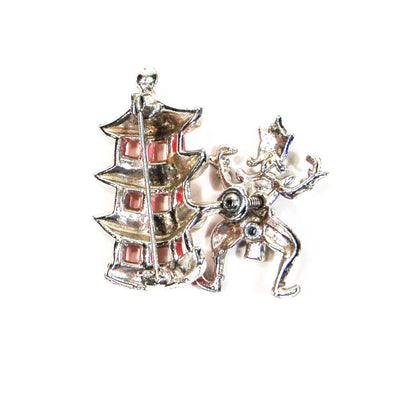 Asian Dancer, Pagoda Brooch, Enamel, Figural, Trembler, Vintage Jewelry