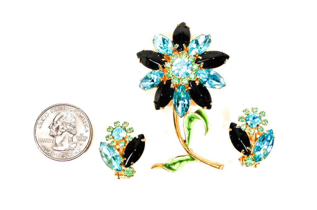 Blue, Black, Green Rhinestone Flower Brooch and Earrings Set - Vintage Meet Modern  - 3