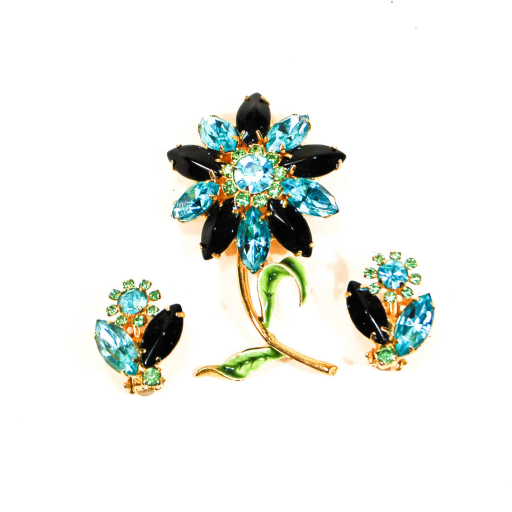 Blue, Black, Green Rhinestone Flower Brooch and Earrings Set - Vintage Meet Modern  - 1
