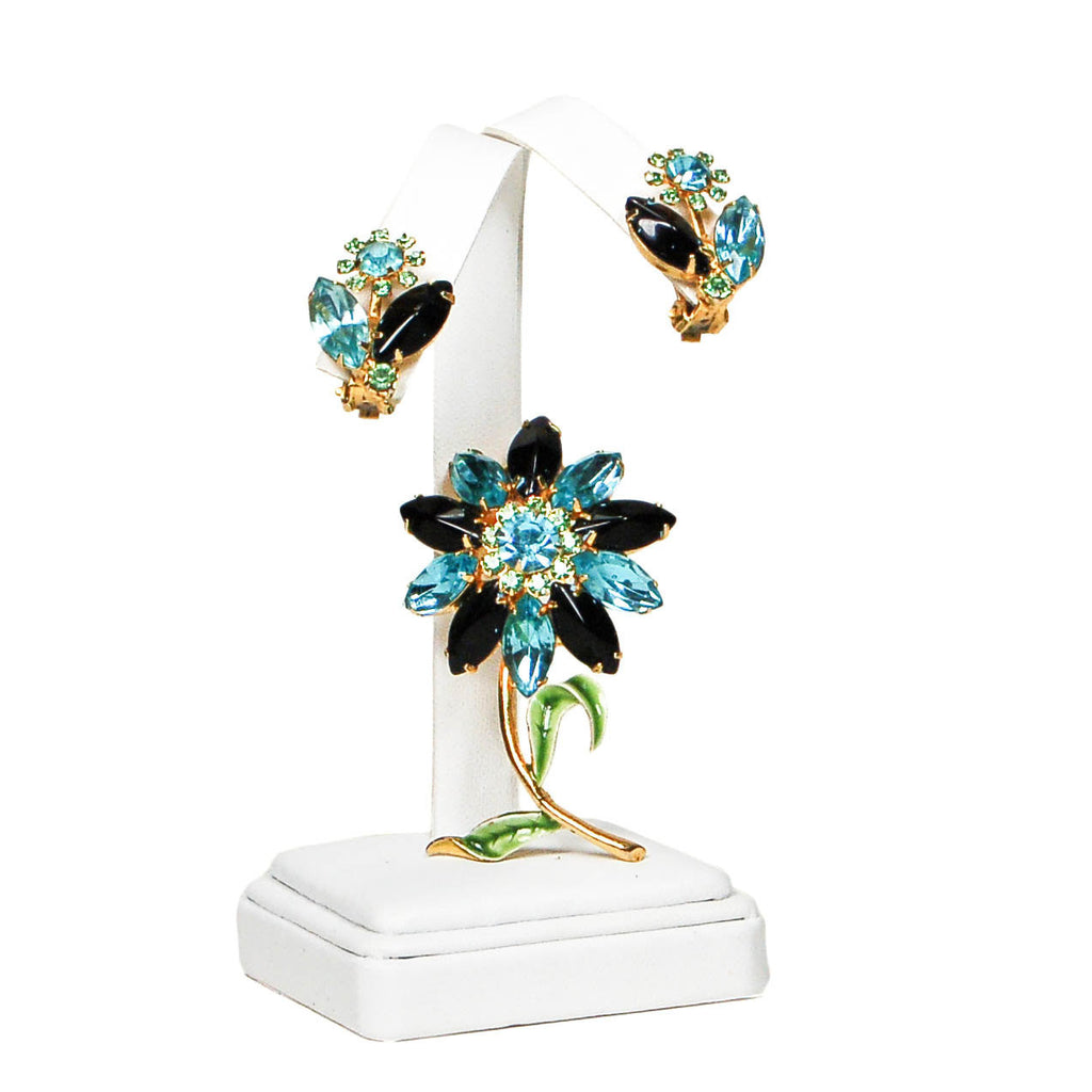 Blue, Black, Green Rhinestone Flower Brooch and Earrings Set - Vintage Meet Modern  - 2