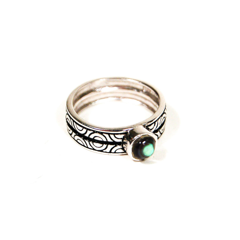 Etched Band and Abalone Cabochone Sterling Silver Ring - Vintage Meet Modern  - 1