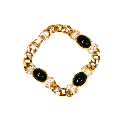 Joan Rivers Black Cabochon and Rhinestone Gold Chain Bracelet, Bracelet - Vintage Meet Modern