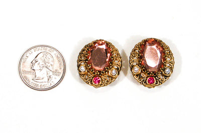 1950's Blush Pink Rhinestone and Filigree Gold Tone Earrings by 1950's - Vintage Meet Modern - Chicago, Illinois