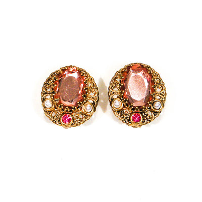 1950's Blush Pink Rhinestone and Filigree Gold Tone Earrings by 1950's - Vintage Meet Modern Vintage Jewelry - Chicago, Illinois - #oldhollywoodglamour #vintagemeetmodern #designervintage #jewelrybox #antiquejewelry #vintagejewelry