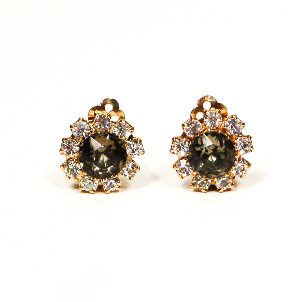 Smoke Rhinestone Earrings by Bogoff - Vintage Meet Modern  - 1