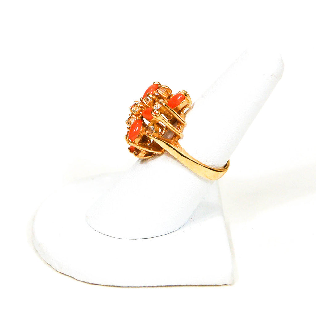 Gold Tone Coral and Rhinestone Cocktail Ring - Vintage Meet Modern  - 3