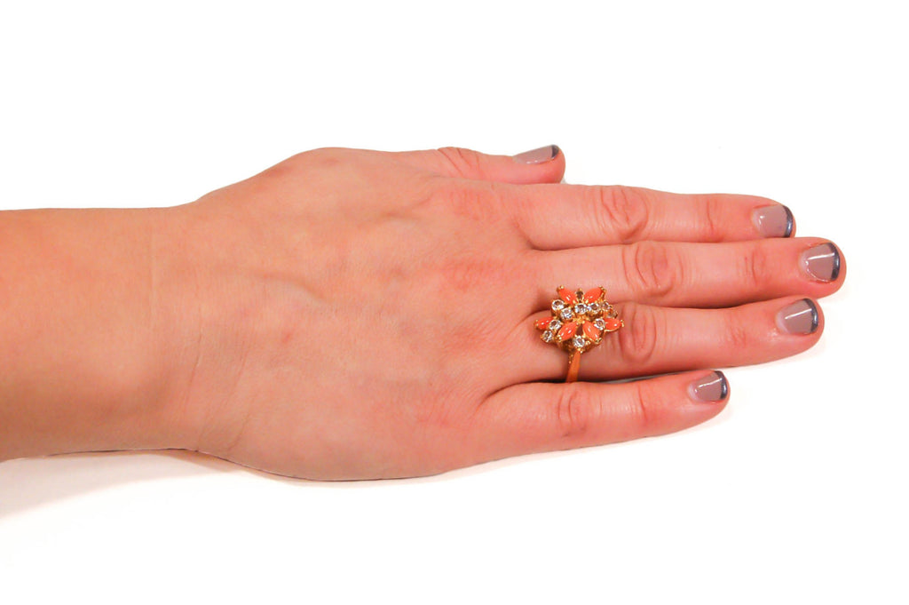 Gold Tone Coral and Rhinestone Cocktail Ring - Vintage Meet Modern  - 4