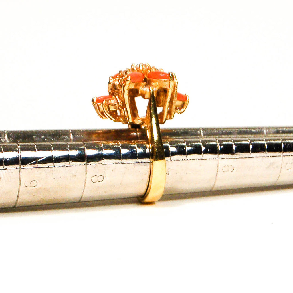 Gold Tone Coral and Rhinestone Cocktail Ring - Vintage Meet Modern  - 5