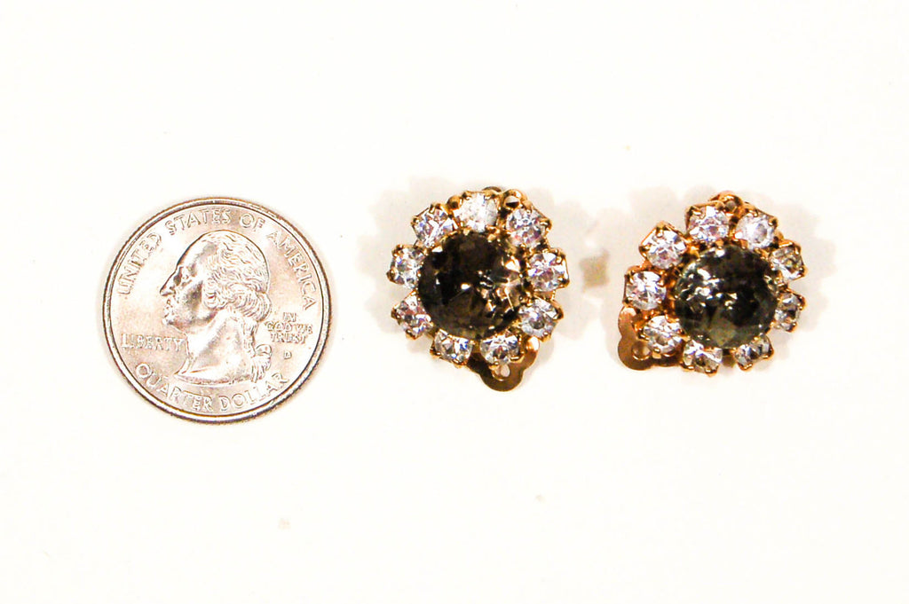 Smoke Rhinestone Earrings by Bogoff - Vintage Meet Modern  - 4