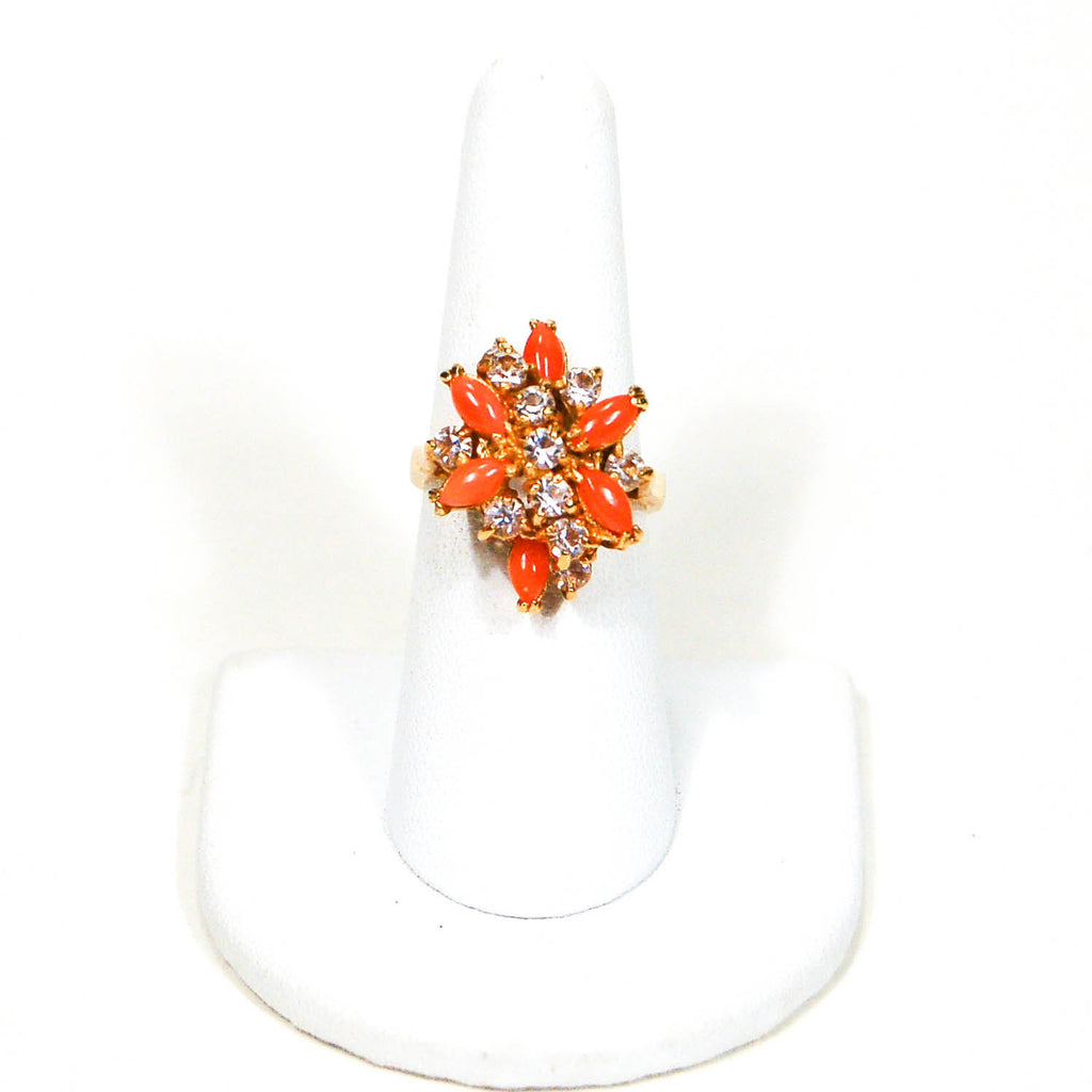 Gold Tone Coral and Rhinestone Cocktail Ring - Vintage Meet Modern  - 2