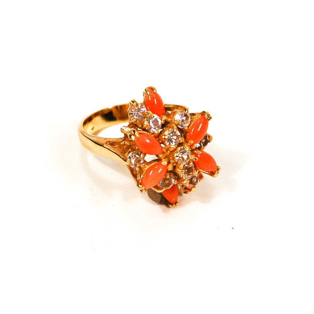 Gold Tone Coral and Rhinestone Cocktail Ring - Vintage Meet Modern  - 1