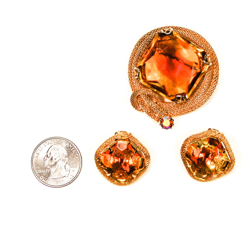 1960's Amber Topaz Rhinestone Brooch and Earring Set, Jewelry Sets - Vintage Meet Modern