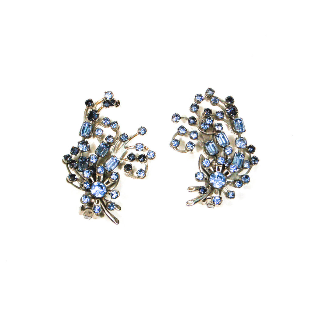 1960's Spray Style Blue Rhinestone Earrings - Vintage Meet Modern  - 2