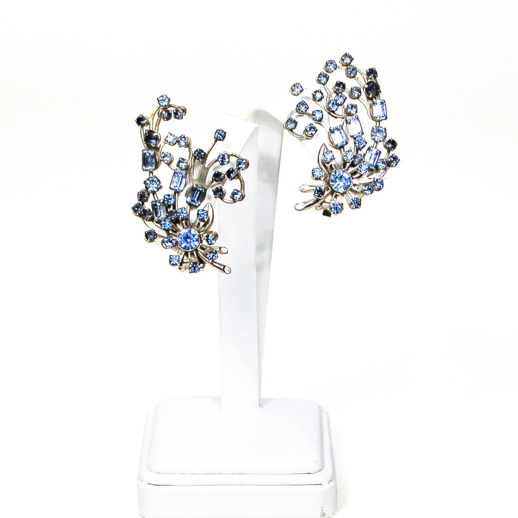 1960's Spray Style Blue Rhinestone Earrings, Earrings - Vintage Meet Modern