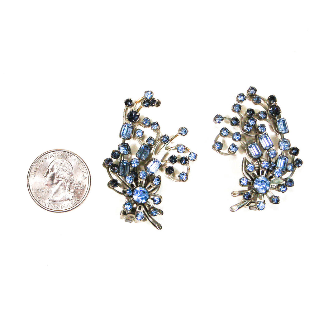 1960's Spray Style Blue Rhinestone Earrings - Vintage Meet Modern  - 3