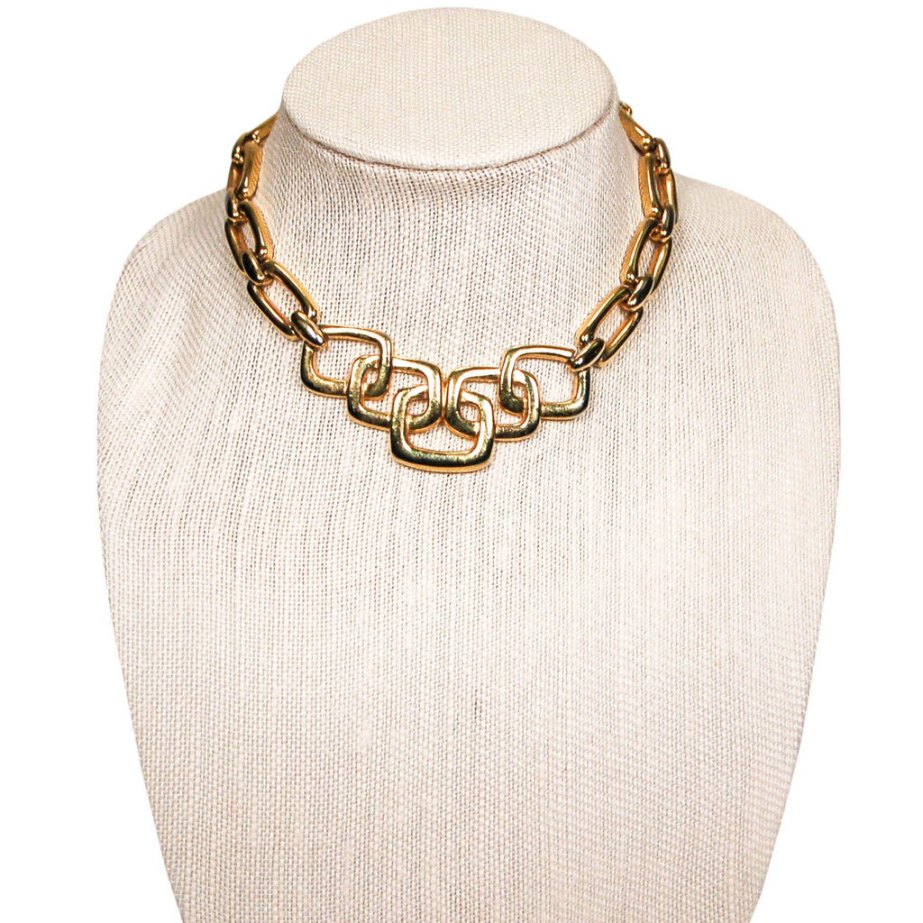 1960's Gold Necklace with Square Link Detail by Crown Trifari, Necklaces - Vintage Meet Modern