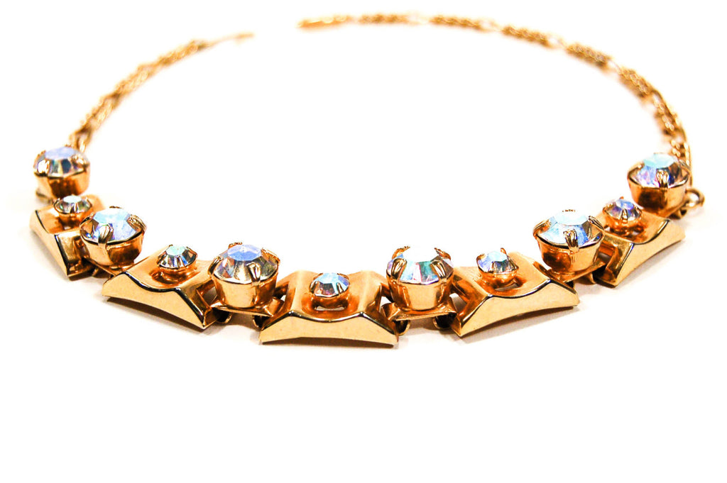 1960's Gold Choker Necklace with Aurora Borealis Rhinestones, Necklaces - Vintage Meet Modern