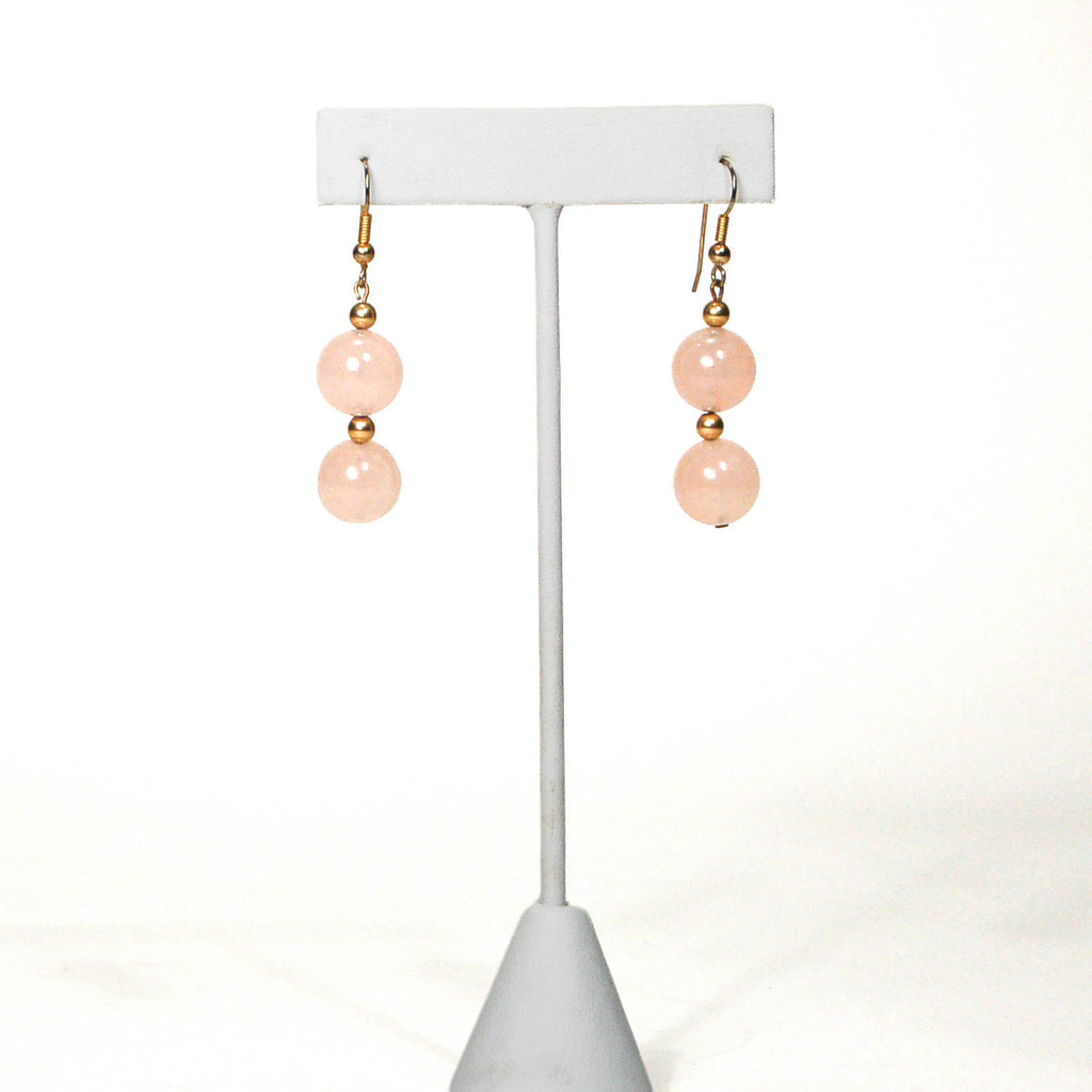 Dangling Rose Quartz Earrings - Vintage Meet Modern  - 1