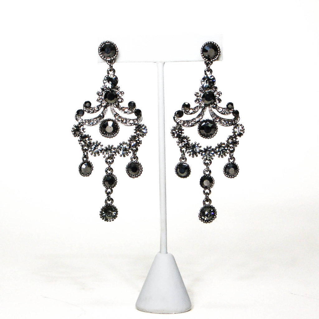 1980's Gunmetal Rhinestone Chandelier Earrings, Earrings - Vintage Meet Modern