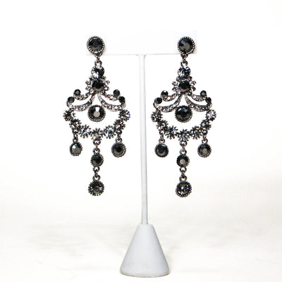 1980's Gunmetal Rhinestone Chandelier Earrings by 1980s - Vintage Meet Modern - Chicago, Illinois