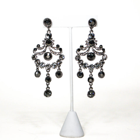 Art Deco Inspired Pearl and Rhinestone Tassel Earrings by Avon