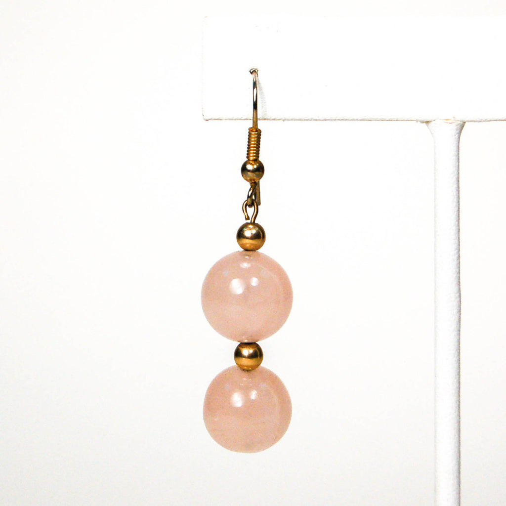 Dangling Rose Quartz Earrings - Vintage Meet Modern  - 2