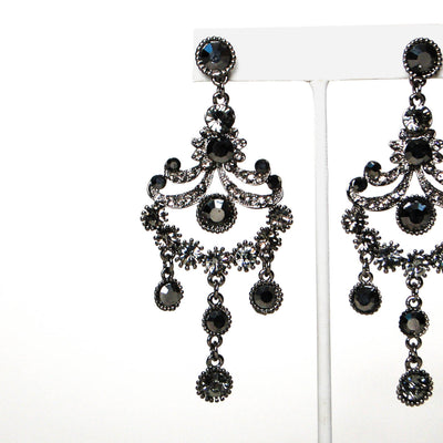 1980's Gunmetal Rhinestone Chandelier Earrings by 1980s - Vintage Meet Modern Vintage Jewelry - Chicago, Illinois - #oldhollywoodglamour #vintagemeetmodern #designervintage #jewelrybox #antiquejewelry #vintagejewelry