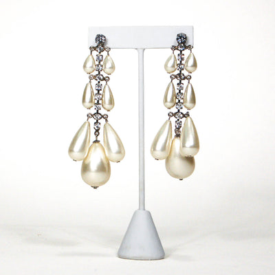 1980's Rhinestone and Pearl Drop Chandelier Earrings by 1980s - Vintage Meet Modern - Chicago, Illinois