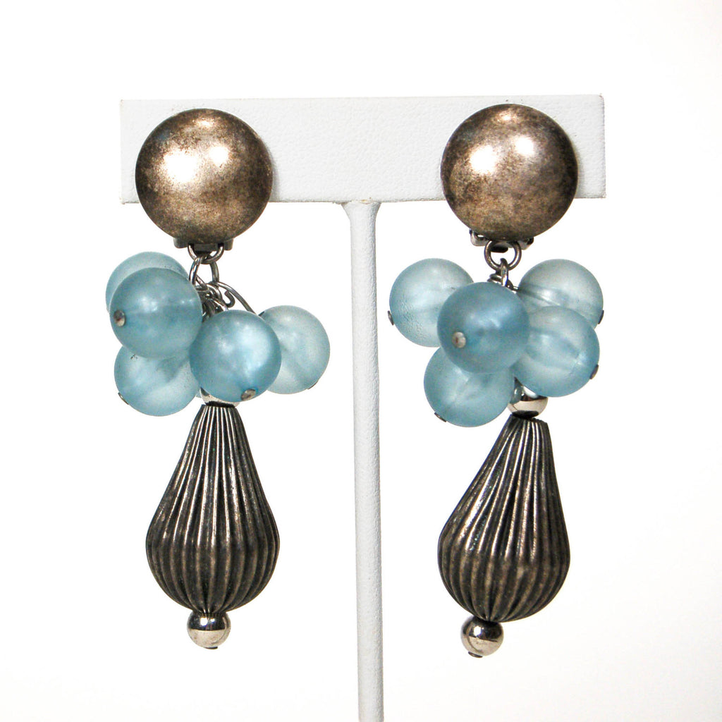 1980's Blue and Silver Dangling Earrings - Vintage Meet Modern  - 4